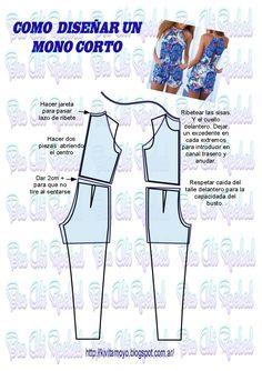 KiVita MoYo:  COMO DISEÑAR UN MAMELUCO CORTO A PARTIR DEPATRO... Barbie Sewing Patterns, Easy Sewing Patterns, Sewing Tutorials, Sewing Shorts, Sewing Clothes, Jumpsuit Pattern, Pants Pattern, Formal Dress Patterns, Diy Dress
