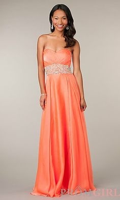 Long Strapless Open Back Gown at PromGirl.com