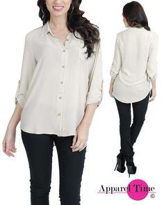 DN147-AB-R20 $7.50    #tops #blouse #womens #chiffon #bottondown #style #shop #follow #followback #wholesale