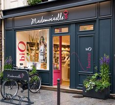 Mademoiselle Bio, distributors of organic cosmetics, by Agence Halley des Fontaines, Retail design, shop, boutique, front window, bike, paris