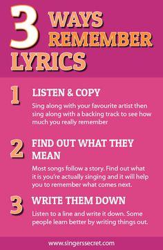 How to remember song lyrics. http://singerssecret.com/how-to-remember-lyrics/ #singingtips #stagecraft #singing