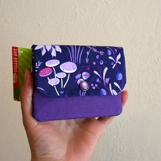 Purple Mushroom Cash and Card Wallet with Zipper for Change Hot Butter, Library Card, Card Wallet, Favorite Color, My Design, Stuffed Mushrooms, Change, Zipper, Purple