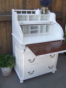 Cottage Charm Creations: Adorable roll top desk/dresser combo