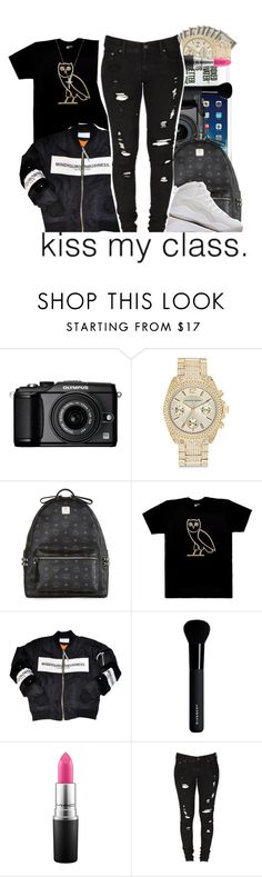 """✨."" by beautifulme078 ❤ liked on Polyvore featuring Olympus, Saks Fifth Avenue, MCM, October's Very Own, Drakes London, Givenchy, MAC Cosmetics, Levi's and Nephora"