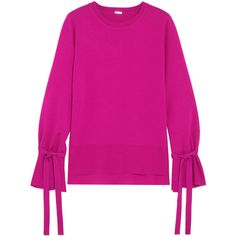 Adam Lippes Tie-detailed wool sweater (1.210 BRL) ❤ liked on Polyvore featuring tops, sweaters, fuchsia, loose fitting sweaters, loose fitting tops, loose sweater, pink wool sweater and loose fit sweater