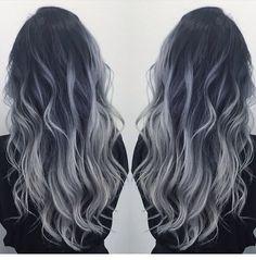 Black to gray silver balayage - Hair - Hair Colored Curly Hair, Long Curly Hair, Curly Hair Styles, Natural Hair Styles, Balayage Hair Blonde, Black Balayage, Ash Blonde, White Blonde, Bayalage Black Hair
