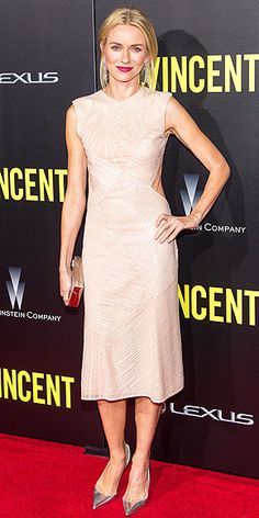Last Night's Look: Love It or Leave It?   NAOMI WATTS   A shimmery cream Jason Wu dress and silver Christian Louboutin pumps might be too pale for the average blonde to pull off – but Naomi Watts is not your average blonde. Her pink lip makes the look pop at the St. Vincent premiere in N.Y.C.