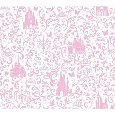 Disney Small Scrolls & Castles Removable Wallpaper (365 BRL) ❤ liked on Polyvore featuring home, home decor, wallpaper, light pink, scroll wallpaper, light pink wallpaper, disney home decor, disney wallpaper and pale pink wallpaper