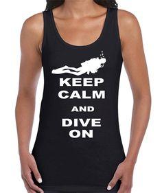 Keep-Calm-Dive-On-Scuba-Mens-Ladies-Womens-T-Shirt-Singlets-Diving-top-aquatic