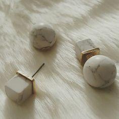 MARBLE DOUBLE SIDED EARRING SET New Marble Earrings Jewelry Earrings