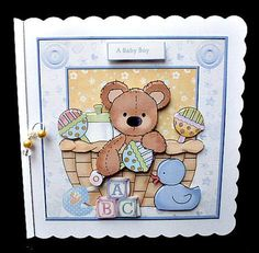 baby boy bear in a basket card with decoupage on Craftsuprint designed by Angela Wake - made by Diane Hitchcox