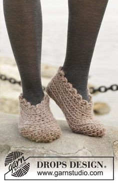 Crochet DROPS slippers in Andes. Size 35 - 43. Free pattern by DROPS Design.