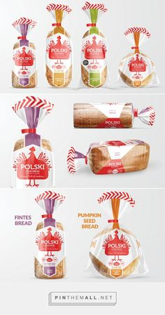 Polski Bread packaging by Clare Lynch. Source: Behance. Pin curated by #SFields99 #packaging #design #inspiration #ideas #innovation #flow #plastic #bag #color #typography #creative #product #consumer #bread #food #sliced