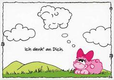 Olaf das Grummelschaf und Poppy Postkarte mit lustigen Sprüchen - Ich denk an Dich. Postkarten Liebe