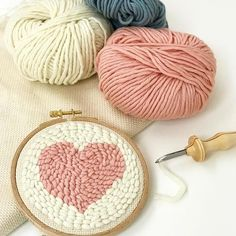DIY Punch Needle Set with Punch Needle Rug Hooking Kit 20 x 20 cm Embroidery Frame and A-Frame Sunset