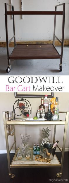 HOME SHOP DIYS TAKE A TOUR VIDEOS ABOUT GOODWILL BAR CART MAKEOVER – THRIFT STORE DIY I searched for an old cart that I could transform into a bar cart for quite some time. I had even visited this Goodwill a few times before. So, could you imagine my excitement when I walked in and found the perfect cart. I dragged that thing all over the store with me because I refused to let it out of my site [INSERT EMOJI HERE]. Here I'm sharing the transformation. Hope you enjo...