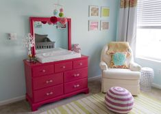 Dresser Refinished and Painted with Behr Dragon Fruit - love this pop of pink in an aqua nursery!