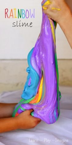 DIY Rainbow Slime Craft Idea for Kids