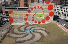The Urban Flower Field viewed from above with an Mural Wall. The power of residual paint! Pocket Park, Mural Wall, Outdoor Art, Public Art, Lighter, Parks, Cities, The Neighbourhood, Urban