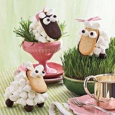 Centrotavola con pecorelle di marshmallow