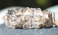 Sterling Silver Filigree Panel Bracelet Mexico by Yourgreatfinds