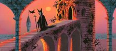 "Eyvind Earle concept art for Walt Disney's ""Sleeping Beauty"" (1959)"