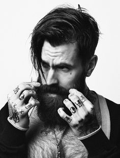 Hand tattoos and beard - great combination #mens #tattoo #beard