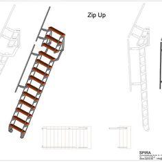 ZIP UP - Verschuifbare trapladder Portable Ladder, Metal Projects, Folded Up, Wine Cellar, Stairways, Home Interior Design, Zip Ups, Catalog, Floor Plans