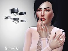"salem-c: "" Jewelry for the fingers #2 (TS4) •  Rings set #2 - 15 swatches - DOWNLOAD •  Nails #2 - 15 swatches - DOWNLOAD All meshes by me. •  Hair - Stealthic •  Top - Toksik •  Pose - Dearkim """