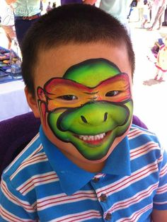 One Stroke ninja turtle face painting by Susanne Daoud at www.JuicyBodyArt.com #ninjaturtle #TMNT #facepainting