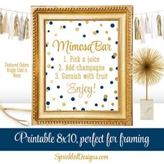 Mimosa Bar Party Sign - Navy Blue Gold Glitter Baby or Bridal Shower Ideas - Monograms Mimosas - Birthday Printable 8x10 Sign