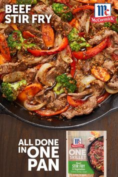 Whip up a quick beef stir-fry for the family tonight. The flavors of sesame, orange and ginger in McCormick® ONE Seasoning Mix bring Asian-inspired flavor to veggies and meat in under 30 minutes! beef stir fry Beef Stir Fry and Vegetables Stir Fry Recipes, Meat Recipes, Asian Recipes, Mexican Food Recipes, Chicken Recipes, Dinner Recipes, Cooking Recipes, Healthy Recipes, Chayote Recipes