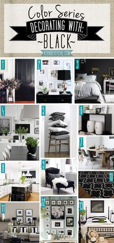 Color Series; Decorating with Black. Black home decor | A Shade Of Teal