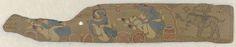 Anonymous | Erotische scènes van Krishna en Radha, Anonymous, 1700 - 1800 | De versokant is ondersteboven beschilderd met erotische taferelen van Krishna en Radha in een paneel dat het grootste deel van het blad beslaat, links is nog een klein stukje oud-Indiaas schrift te zien; rechts een ruiter met een lotuspijl en boog op een olifant met gehoornde rug (penseel in zwarte omtreklijnen). Het stukje palmblad is in een blauw passepartout opgenomen zodat voor- en achterkant zichtbaar zijn.
