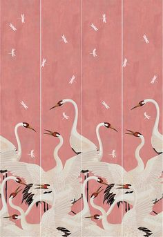 GUCCI, Heron print wallpaper panels, Pink/multi, Luisaviaroma - Includes two panels each: Width: Height: meters. Wallpaper Panels, Print Wallpaper, Pattern Wallpaper, Chinoiserie, Painting Inspiration, Art Inspo, Illustrations, Illustration Art, Cool Art