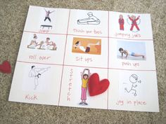 Heart Healthy Exercise – This is one of my favorites, I do it almost every year. The kids get into it and it will keep them going for a good 10 minutes. And the kids are exercising, even better. **If you'd like to download a free printable version of this board, visit Fantastic Find who created one the kids can take home!