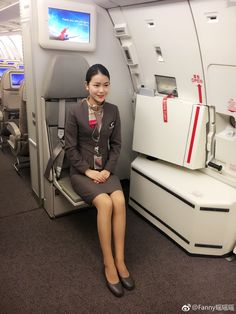 """""""I'm sorry, sir, I can't untie you until we land, even if you are sober now. Airline Uniforms, Cabin Crew, Sexy Stockings, Flight Attendant, In Pantyhose, Skirt Suit, These Girls, Asian Woman, Asian Beauty"""