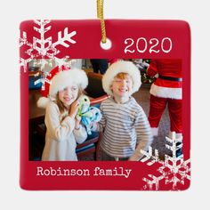 Rustic Red Photo Ornament with Snowflakes - tap, personalize, buy right now! #ad #snowflake #christmas #red #holiday
