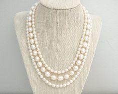 Freshwater Pearl Bridal Necklace Multi Strand by SarahWalshBridal