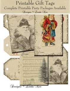 Gift Tags - Vintage Santa Christmas Images Digital Collage Sheet tree christmas printable gift tag ephemera embellishment card present