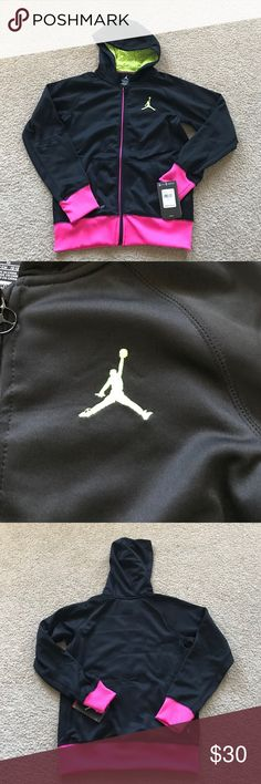 Girls Nike Jordan hoodie jacket medium youth NWT New with tag. Polyester. Youth medium, 10-12 yrs, 140-152 cm. Please check my other listings. Thank you for looking and have a great day. Jordan Shirts & Tops Sweatshirts & Hoodies