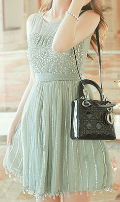Sequin sleeveless round collar chiffon dress C864