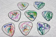 Here's one from my archives that deserves a revisit! My boys are NUTS over guitar picks…don't ask me why! I decided to have them make their own special guitar picks instead of raiding their dad's guitar case every five minutes (you're welcome, Daddy!). Here's what you need: * Permanent Markers * Foil * Guitar Pick – trace the pick and enlarge about 250% to make a template * #6 plastic – this can be found in many food packaging materials {Read More}
