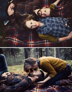 another super cute fall engagement photo! although i wouldn't wear flannel on a flannel blanket, just my opinion though