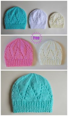 Knit Eyelet Baby Hat Free Knitting Patterns (Size Preemie - 3 - Diy and crafts interests Free Knitting Patterns For Women, Baby Cardigan Knitting Pattern Free, Baby Hat Patterns, Baby Hats Knitting, Baby Bonnet Pattern Free, Beanie Pattern, Knitting Ideas, Knitting Projects, Crochet Pattern
