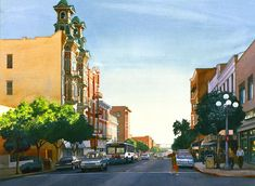Gaslamp Quarter Painting - Gaslamp Quarter San Diego by Mary Helmreich