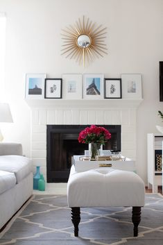 White decor with gold accents and pops of color
