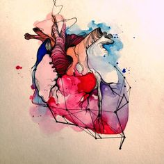 anatomical heart tattoos watercolor / anatomical heart tattoos watercolor - anatomical heart tattoos with flowers watercolors Art And Illustration, Amazing Drawings, Art Drawings, Anatomical Heart Drawing, Arte Com Grey's Anatomy, Human Anatomy Art, Biology Art, Herz Tattoo, Heart Painting