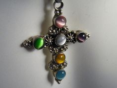 Vintage Pendant Sterling 925 Silver Mexican Large Cross Synthetic Moonstones Multiple Shades Pink Blue Yellow Mauve Green Chain Included