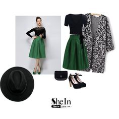 green skirt by valeb on Polyvore featuring polyvore, fashion and style